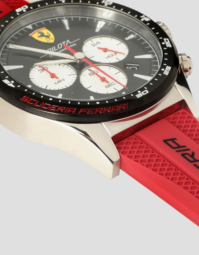 Scuderia Ferrari Online Store - Chronograph Pilota watch with black dial and red strap -