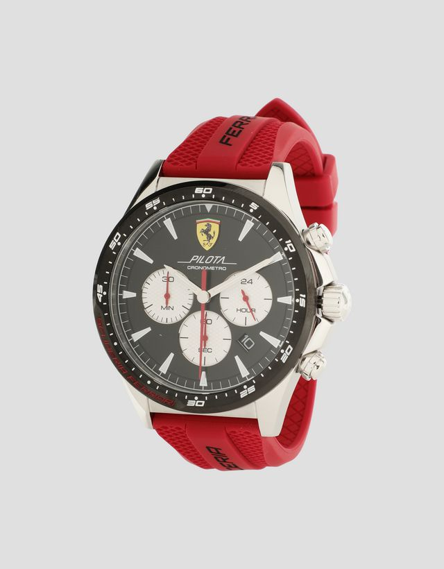 Scuderia Ferrari Online Store - Chronograph Pilota watch with black dial and red strap - Chrono Watches