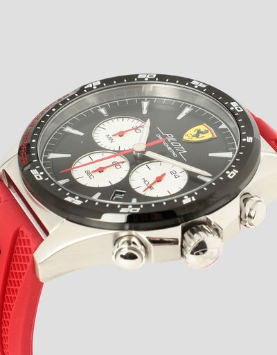 Pilota chronograph watch with black dial and red strap