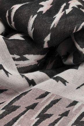 SANDRO Printed cotton-blend scarf