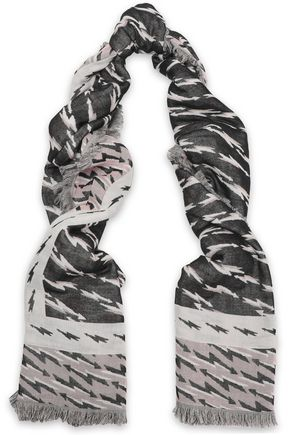 SANDRO Printed cotton-blend scarf