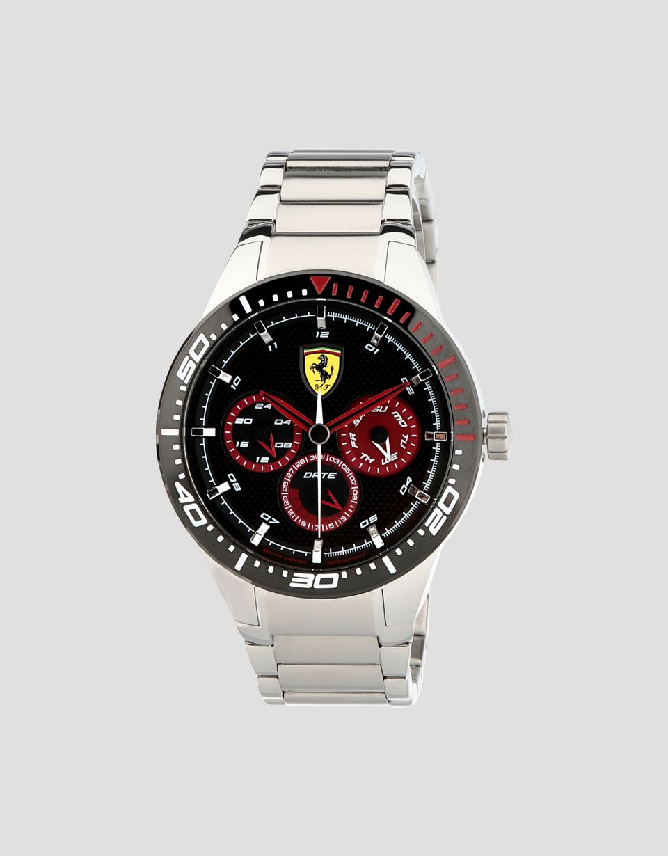 Scuderia Ferrari Online Store - Montre Red Rev T en acier avec cadran noir - Quartz Multifunctional Watch