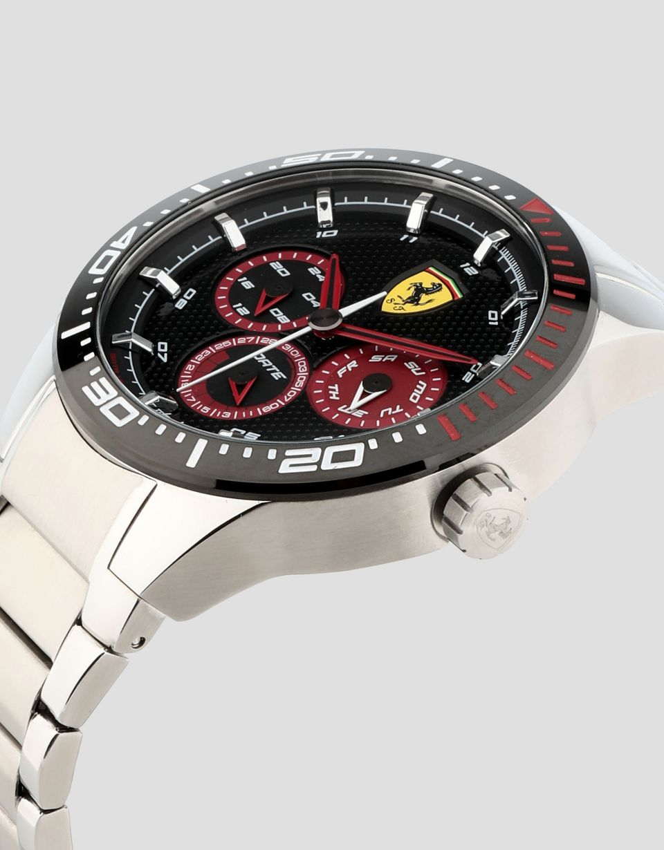 Scuderia Ferrari Online Store - Steel Red Rev T watch with black dial - Quartz Multifunctional Watch