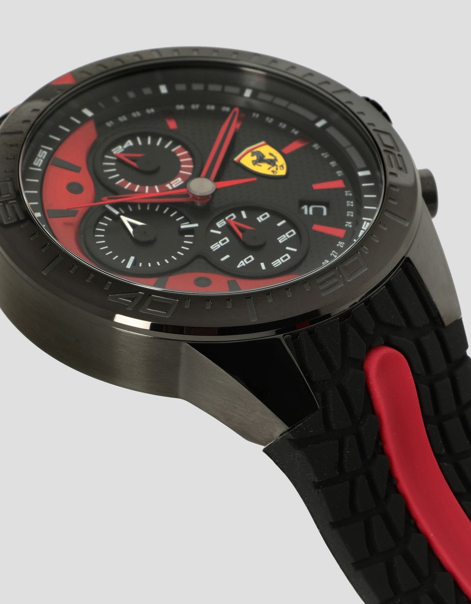 Scuderia Ferrari Online Store - Black Red Rev EVO chronograph watch with red details - Chrono Watches