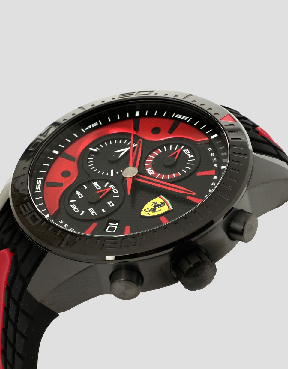Scuderia Ferrari Online Store - Black Red Rev EVO chronograph watch with red details -