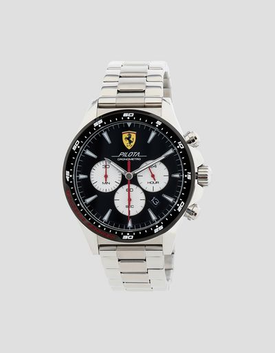 fcf39593f9c Steel Pilota chronograph watch with black dial ...
