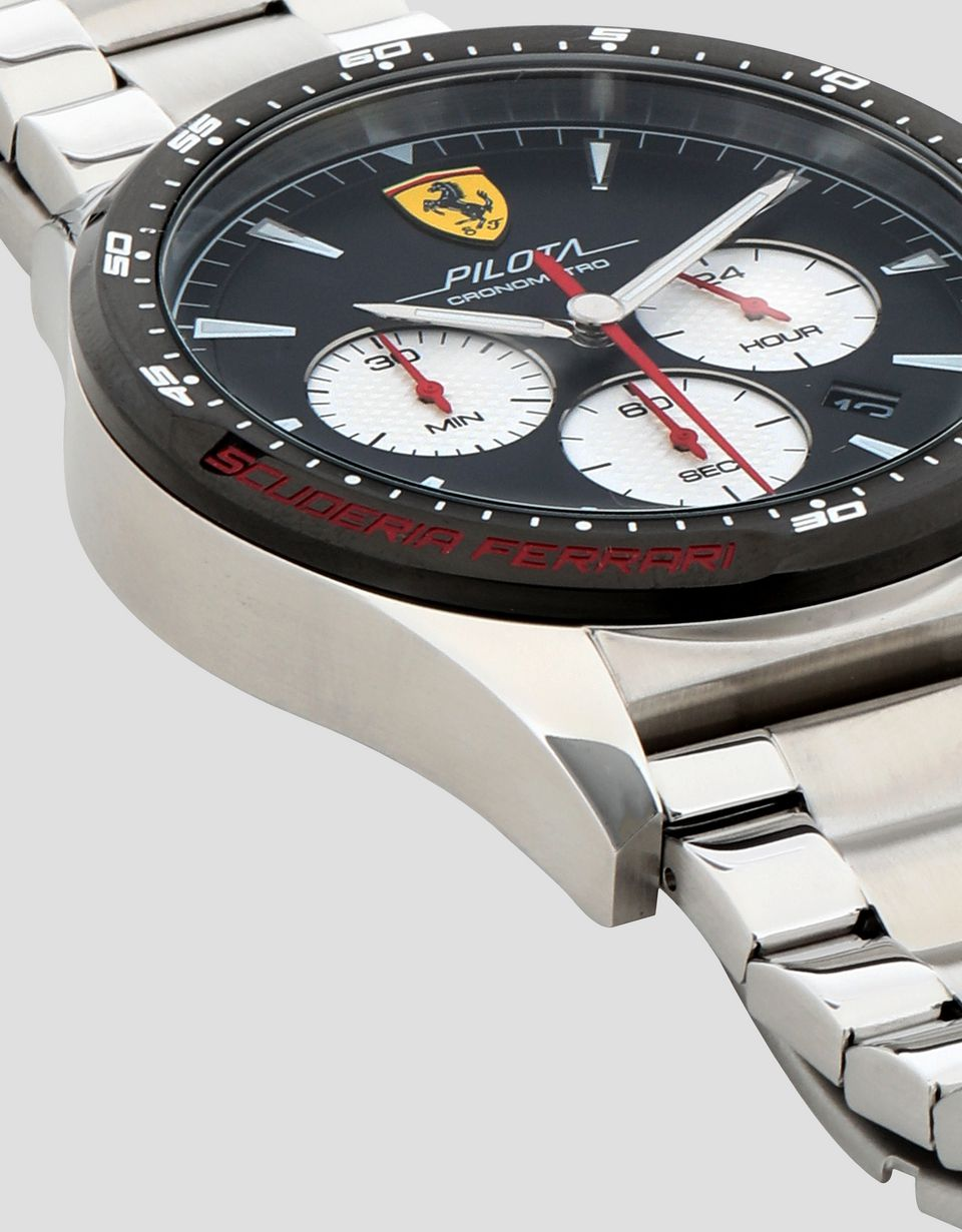 Scuderia Ferrari Online Store - Steel Pilota chronograph watch with black dial - Chrono Watches
