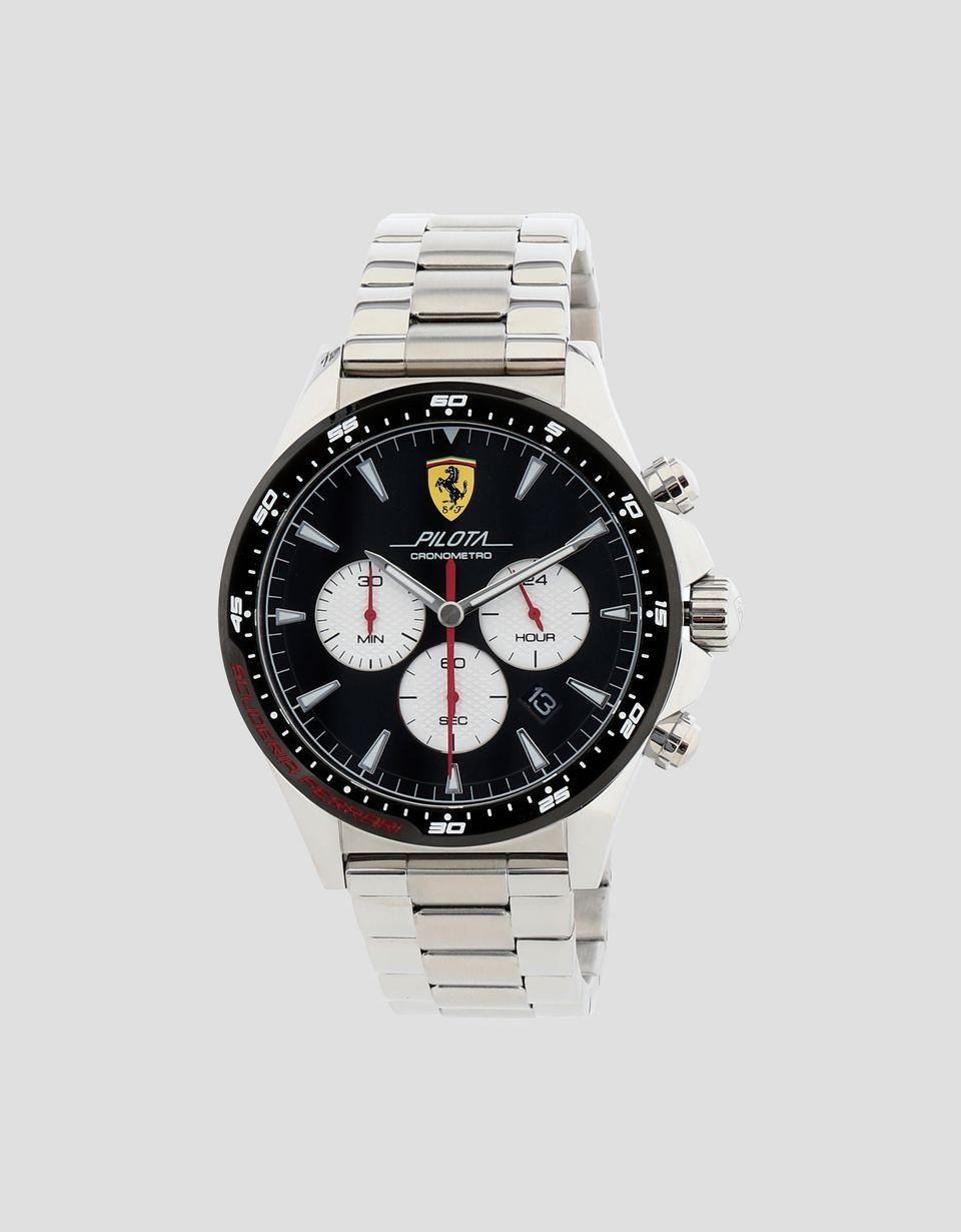 Scuderia Ferrari Online Store - Steel Chronograph Pilota watch with black dial - Chrono Watches