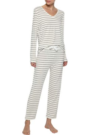 IRIS & INK Sadie striped stretch-jersey pajama set