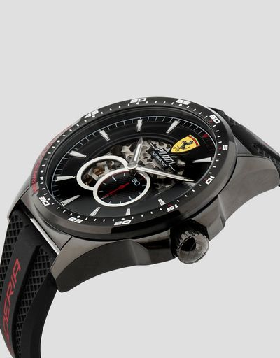 Black Pilota automatic watch with red details