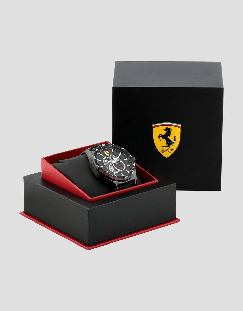 Scuderia Ferrari Online Store - Black automatic Pilota watch with red details - Automatic Watches
