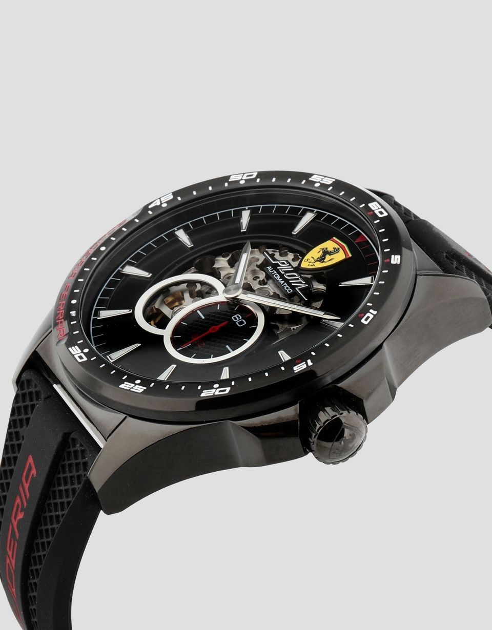 Scuderia Ferrari Online Store - Black Pilota automatic watch with red details - Automatic Watches