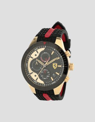 Scuderia Ferrari Online Store - Black, gold and red Red Rev EVO chronograph watch - Chrono Watches