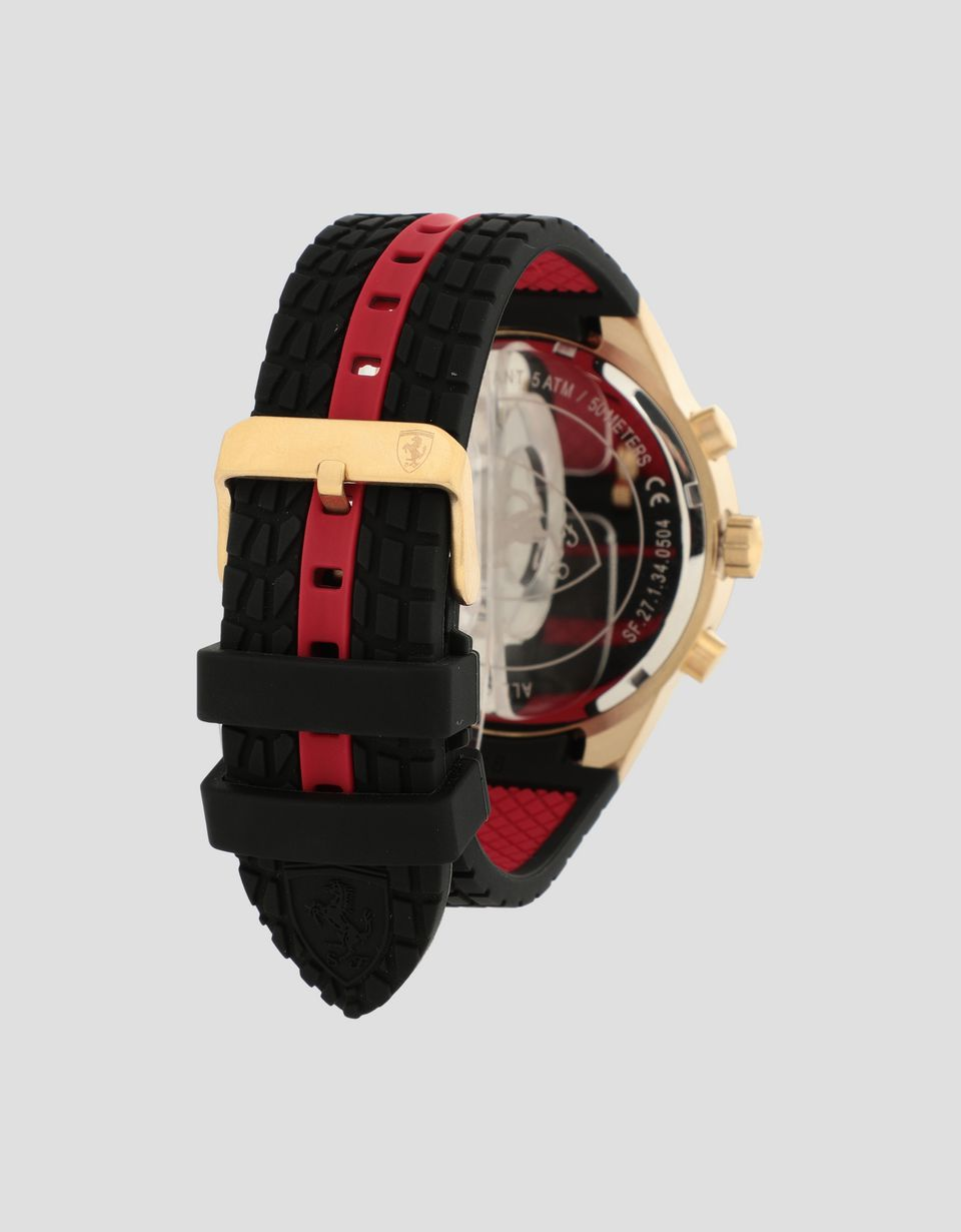 Scuderia Ferrari Online Store - Red, gold and black Red Rev EVO chronograph watch - Chrono Watches