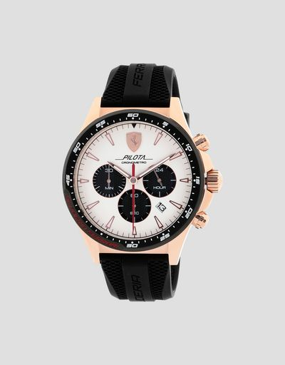 Chronograph Pilota watch with rose gold case and white dial