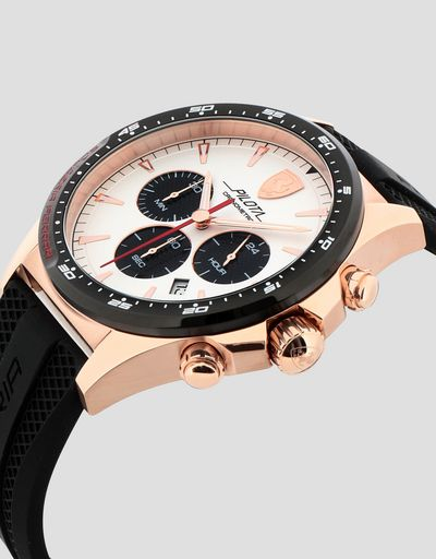 Pilota Chronograph watch with rose gold case and white dial