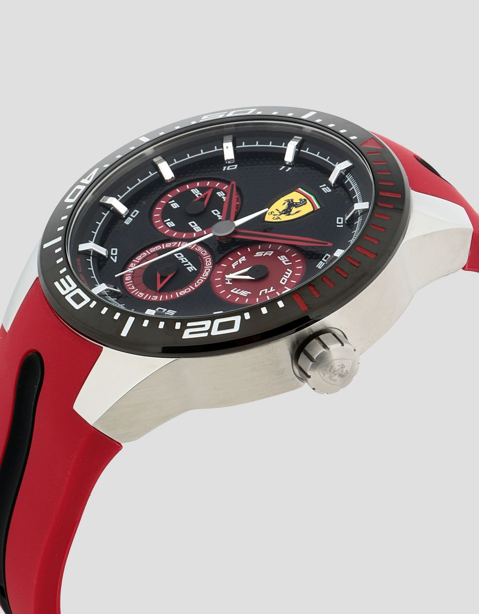 Scuderia Ferrari Online Store - Montre Red Rev T noire avec détails rouges - Quartz Multifunctional Watch
