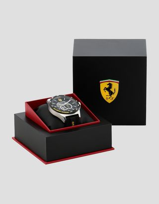 Scuderia Ferrari Online Store - Black Pilota automatic watch with yellow details - Automatic Watches