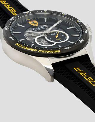 Scuderia Ferrari Online Store - Чёрные автоматические наручные часы Pilota с жёлтыми деталями - Часы с автоподзаводом