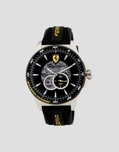 Black automatic Pilota watch with yellow details