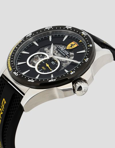 Black Pilota automatic watch with yellow details