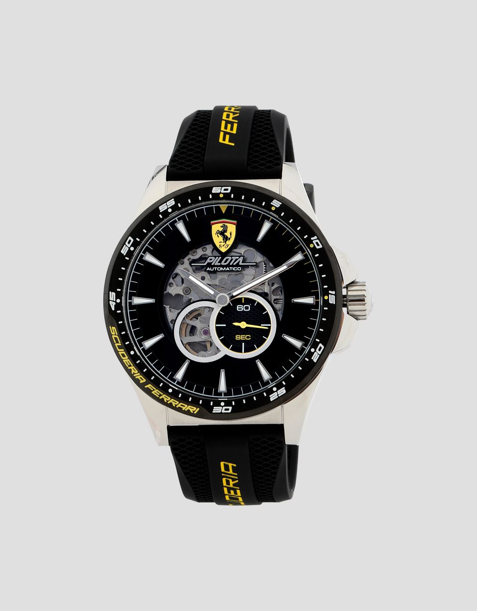 Scuderia Ferrari Online Store - Black automatic Pilota watch with yellow details - Automatic Watches