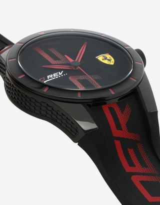 Scuderia Ferrari Online Store - Black Red Rev watch with red logo and detailing - Quartz Watches