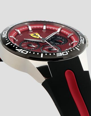 Scuderia Ferrari Online Store - Red Rev T watch with red dial and black strap - Quartz Multifunctional Watch
