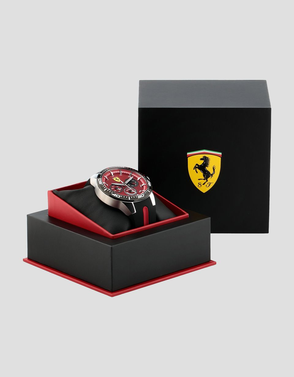 Scuderia Ferrari Online Store - Red Rev T watch with red dial and black wrist strap - Quartz Multifunctional Watch