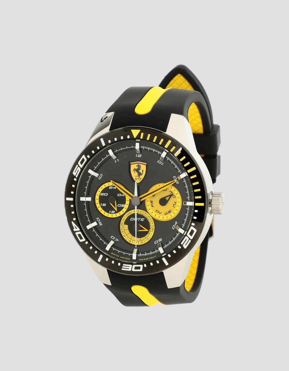 Scuderia Ferrari Online Store - Black Red Rev T watch with yellow details - Quartz Multifunctional Watch