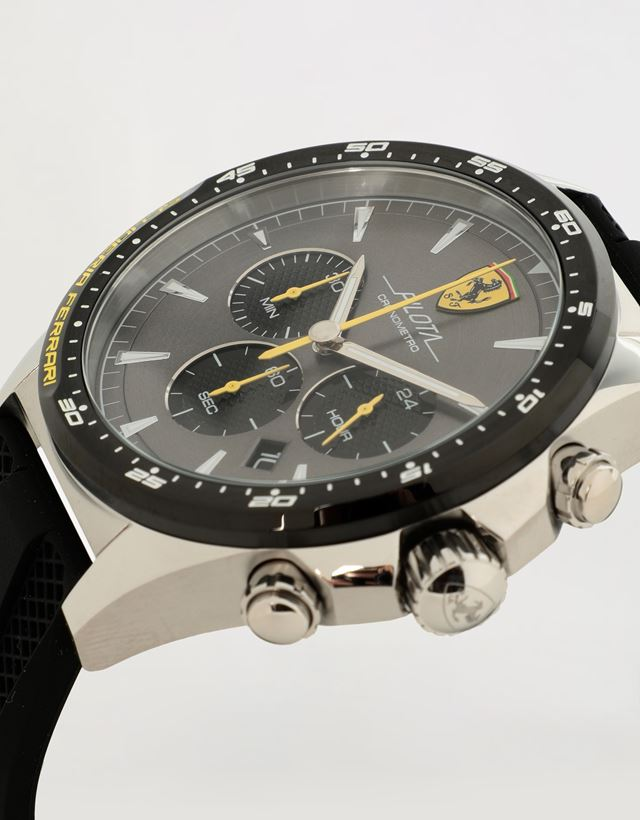 Scuderia Ferrari Online Store - Chronograph Pilota watch with black silicone wrist strap - Chrono Watches