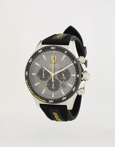 Chronograph Pilota watch with black silicone wrist strap