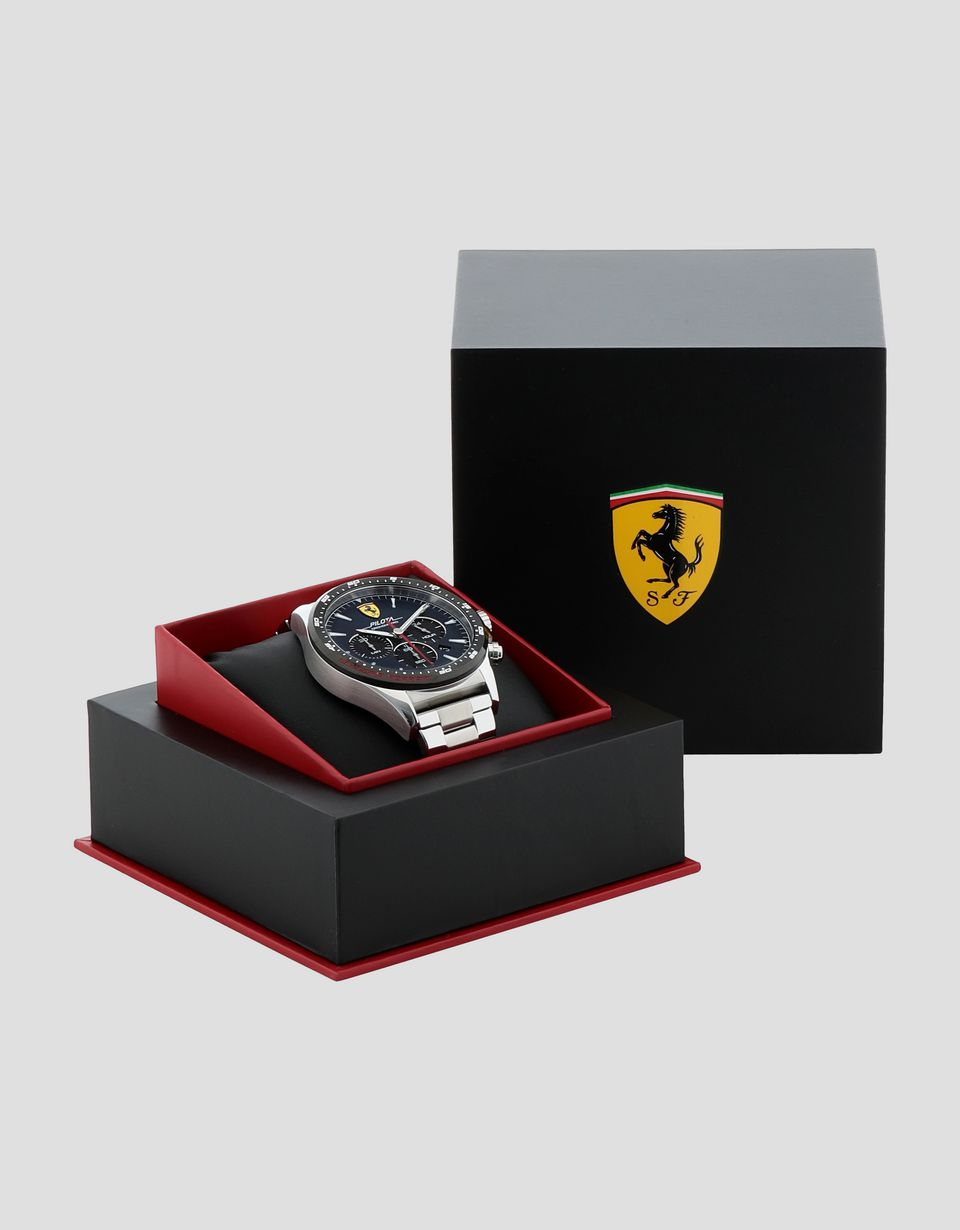 Scuderia Ferrari Online Store - Steel Pilota chronograph watch with blue dial - Chrono Watches