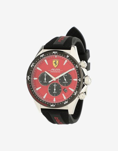 Pilota chronograph watch with red dial