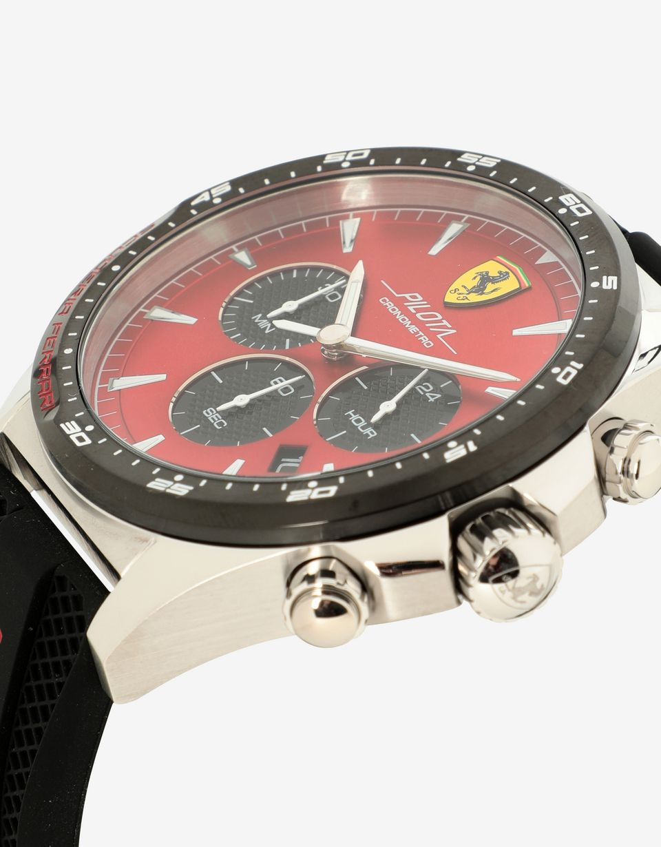 Scuderia Ferrari Online Store - Chronograph Pilota watch with red dial - Chrono Watches