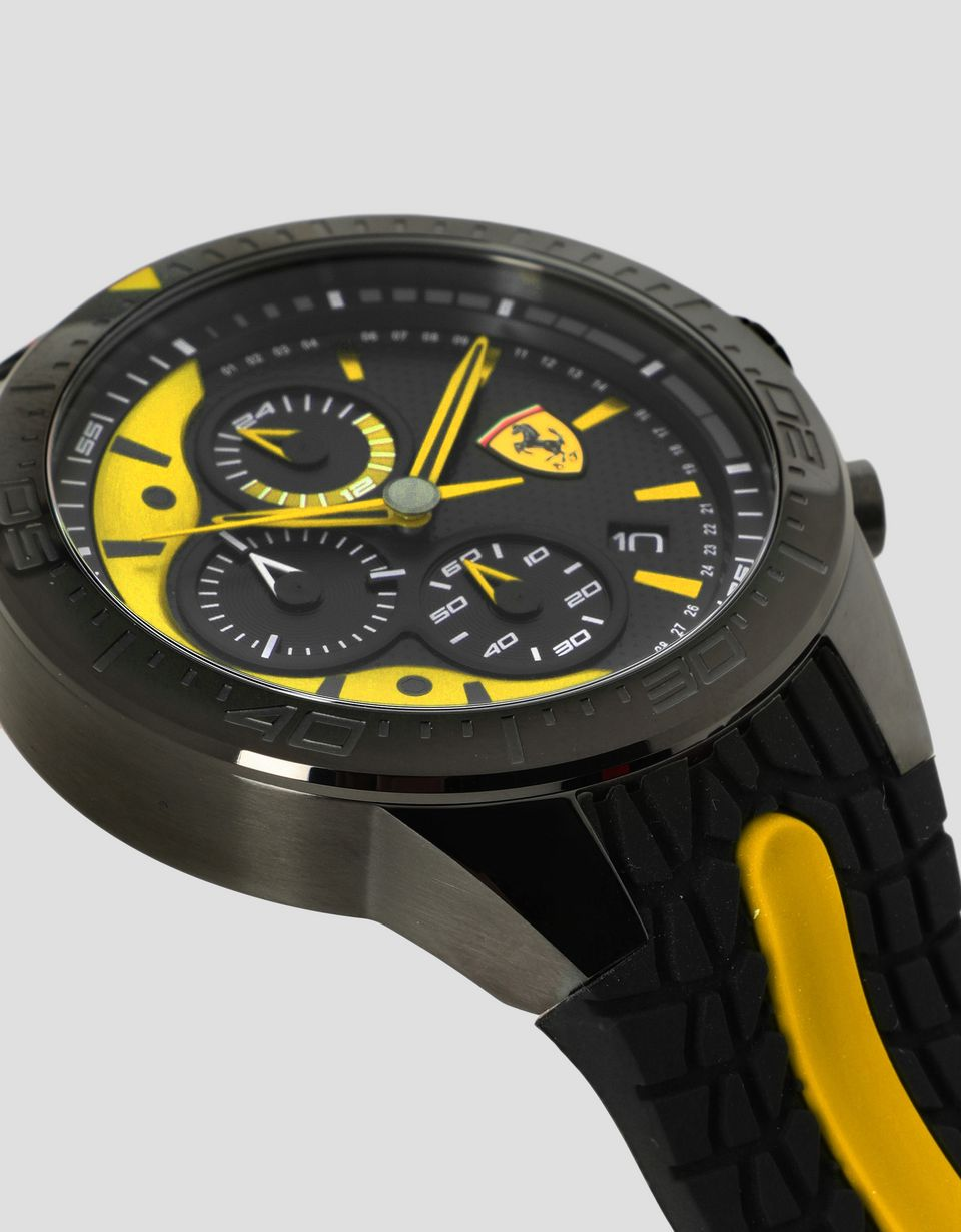 Scuderia Ferrari Online Store - Black Red Rev EVO chronograph watch with yellow details - Chrono Watches