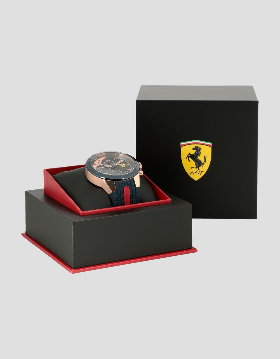 Scuderia Ferrari Online Store - Rose gold and blue Red Rev EVO chronograph watch - Chrono Watches