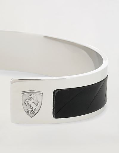 Scuderia Ferrari Online Store - Metal bracelet with leather insert - Pendants & Bracelets