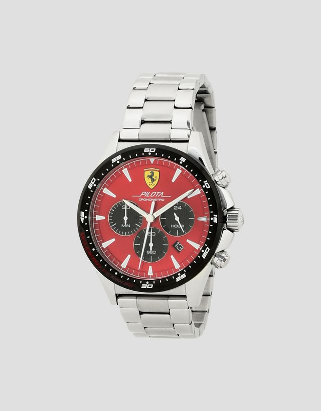 Scuderia Ferrari Online Store - Steel Pilota watch with red face - Chrono  Watches ... 4cbf011e7b