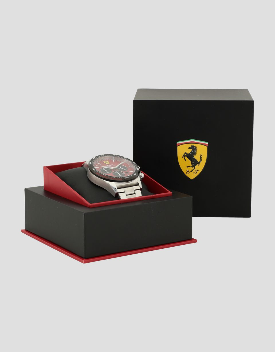 Scuderia Ferrari Online Store - Steel Pilota chronograph watch with red dial - Chrono Watches