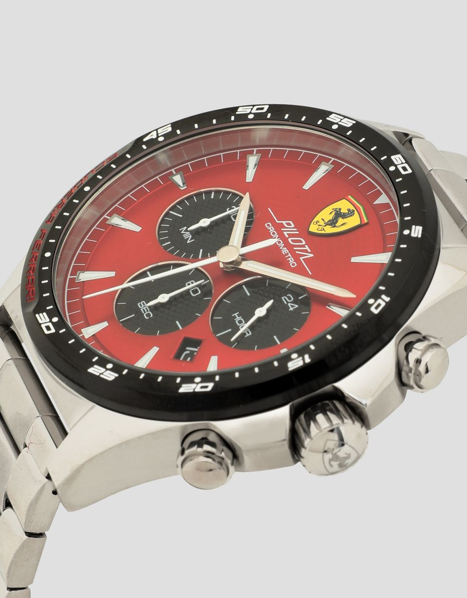 Scuderia Ferrari Online Store - Steel Pilota watch with red face - Chrono Watches