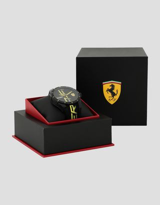 Scuderia Ferrari Online Store - Black Red Rev watch with yellow logo and detailing - Quartz Watches