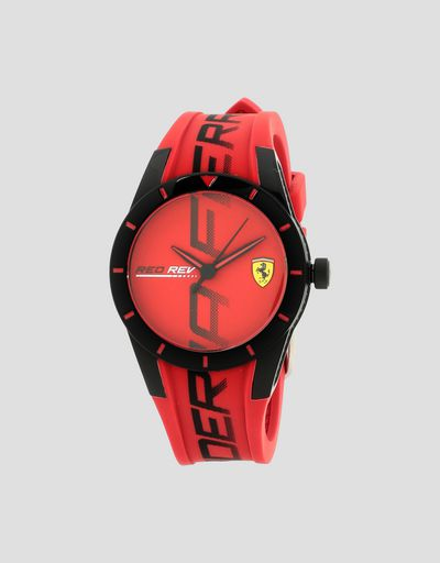 Small Red Rev watch in red with black details