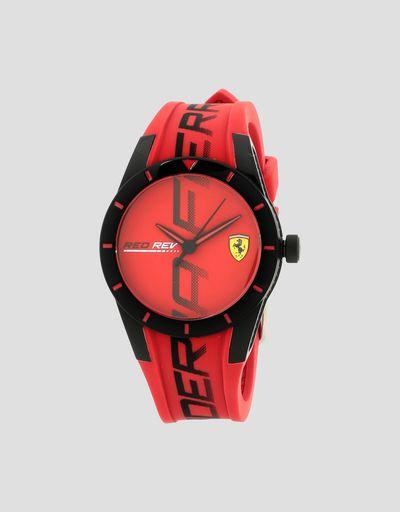 Маленькие красные наручные часы Red Rev с чёрными деталями