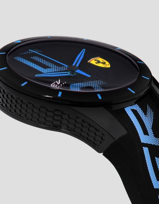 Scuderia Ferrari Online Store - Black Red Rev watch with blue logo and detailing - Quartz Watches