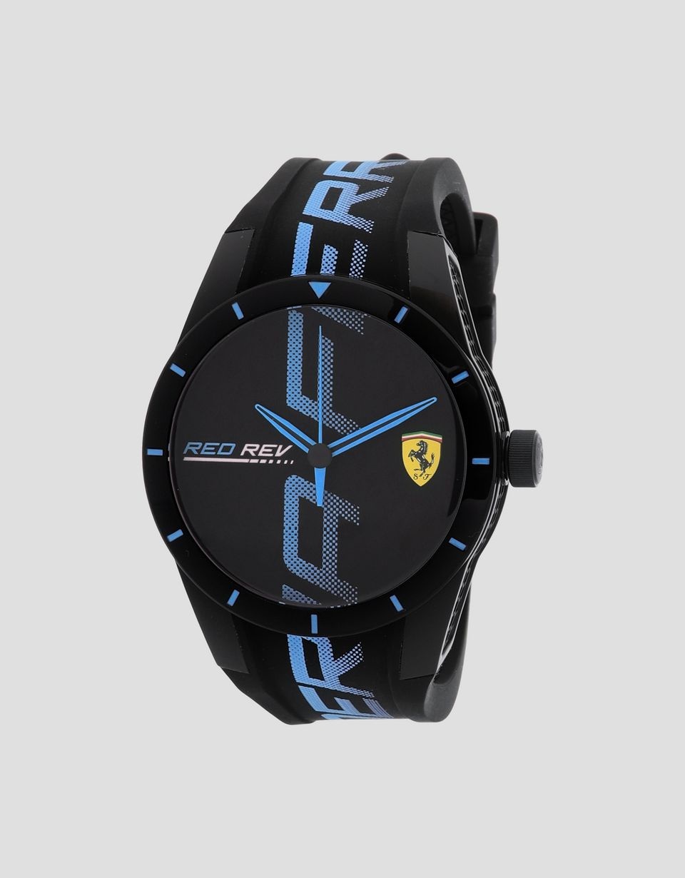 Scuderia Ferrari Online Store - Schwarze Uhr Red Rev mit Logo und Details in Blau - Quarzuhren