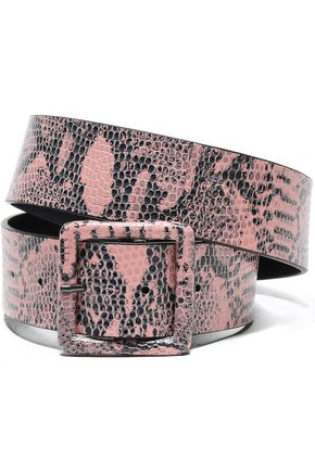 ALICE + OLIVIA Snake-effect leather belt