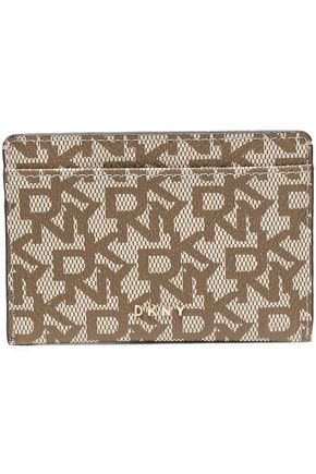 DKNY Printed faux textured-leather cardholder