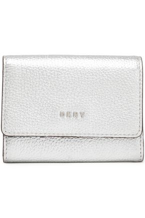 DKNY Metallic textured-leather cardholder