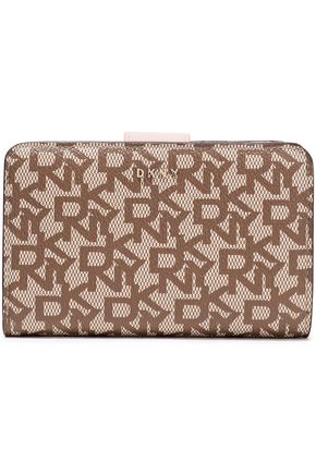DKNY Printed faux textured-leather wallet